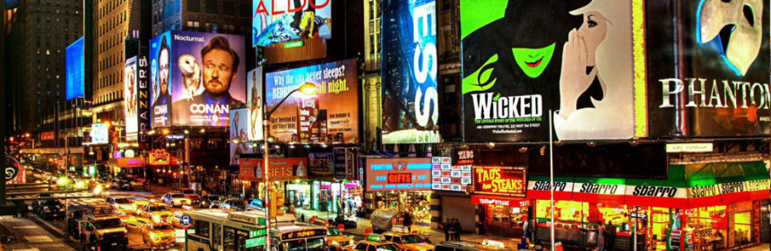 Photograph of Broadway in New York City.