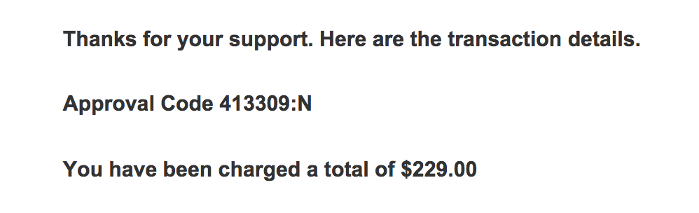Snipit of confirmation of donation to Rainbow Railroad.